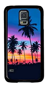 S5 Case,Galaxy S5 Case,Palm Trees Under Sunset-2 Case for Samsung Galaxy S5 PC Material Black