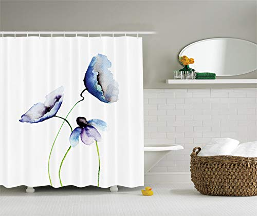 Ambesonne Watercolor Flower Decor Collection, Poppies Wildflowers Blooms in Watercolor Painting, Polyester Fabric Bathroom Shower Curtain Set with Hooks, Navy Blue White Green (Green Blue Shower Curtain White)