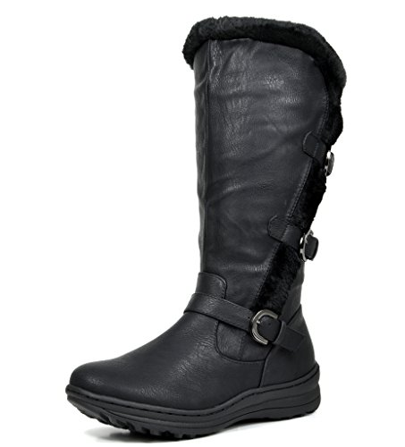 DREAM PAIRS MINX Women's Winter Fully Fur Lined Triple Buckle Ruched Snow Knee High Boots BLACK PU-SZ-8W