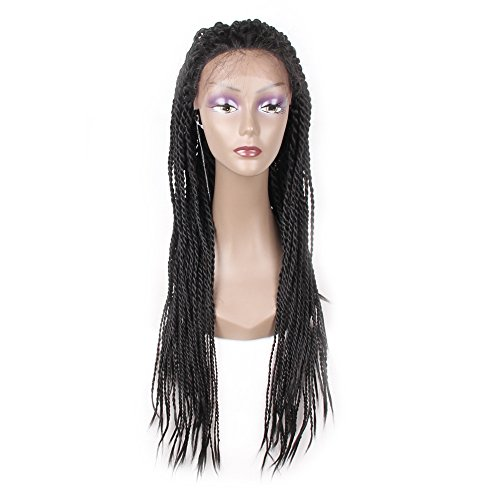 Jiayi Box Braided Lace Front Wigs Bob Style Full Braids with Natural Side Hand-tied Part Half Hand-made Braided Wigs for African American Women with Baby Hair for Daily Wear (1B)