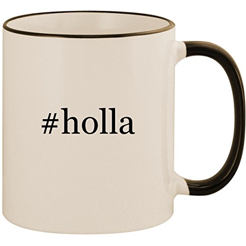 Price comparison product image #holla - 11oz Ceramic Colored Handle & Rim Coffee Mug Cup, Black