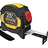 LEXIVON 25Ft/7.5m AutoLock Tape Measure | 1-Inch Wide Blade with Nylon Coating, Matte Finish White & Yellow Dual Sided Rule Print | Ft/Inch/Fractions/Metric (LX-205)