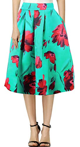Delcoce Floral Skirts with Pockets Green Color Women Pleated Skirts Evening Wear M ()