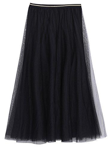 FEOYA Femme Jupe Tulle Longue Grand Taille Jupe Plisse Tutu Jupe Casual Printemps t Automne Hiver pour Soire Party Vacances Taille XL-XXL Noir