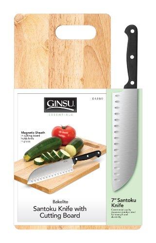 Ginsu Stainless 7'' Santoku Knife with Cutting Board by Douglas Quikut
