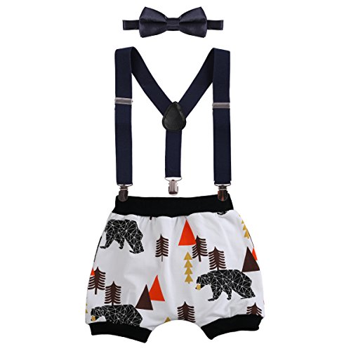 Baby Boys Cake Smash Outfit First Birthday Bloomers Bowtie Adjustable Y Back Suspenders Clothes set #2 Navy Blue Bear+Harem Pants One Size