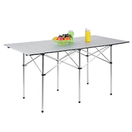 Homgrace Portable Aluminum Folding Table Lightweight Outdoor Roll Up Camping Picnic Table with Storage Bag (140X70cm) by Homgrace