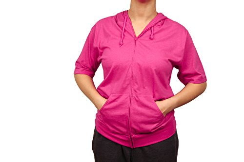 Cottonhood Short Sleeve Zip Hoodie Tee (XX-Small, Fuchsia) - 08 Zip Hoodie Sweatshirt