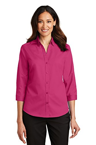 Port Authority Twill Cap - Port Authority Ladies 3/4-Sleeve SuperPro Twill Shirt XXL Pink Azalea