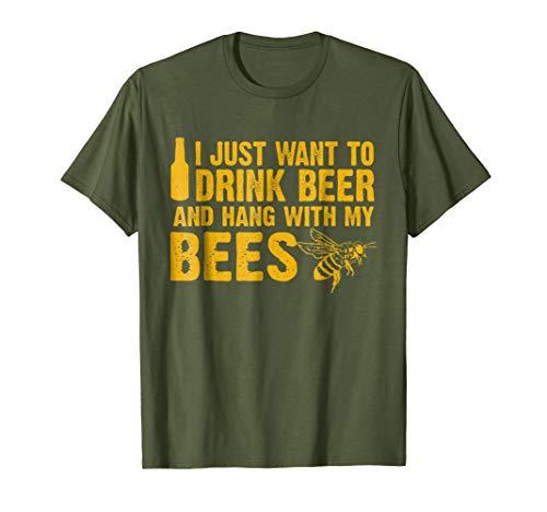 Mens Beekeeper T-Shirt Beekeeping Shirt Drink Beer Large Olive