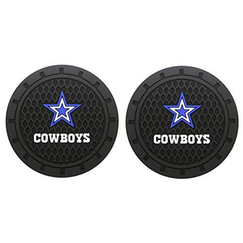 JiangJing NFL 2 Pcs 2.75 inch Car Interior Accessories Anti Slip Cup Mat American Football – Dallas Cowboys