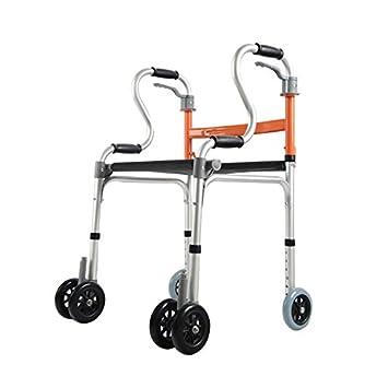 XIHAA Anciano Andador Ajustable En Altura Plegable con Cojín De Cuero Polea Discapacitados Andando Equipo De