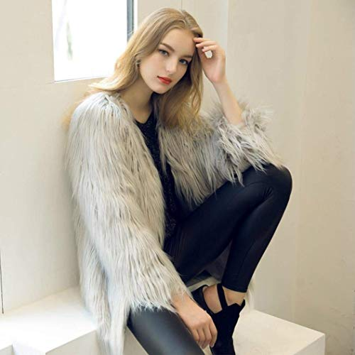 en Manche Longues Cardigan Manteau Jeune Parka Art Fourrure De Manteaux Fourrure Grau Costume Mode Femme Veste Manches Laineux Uni Fourrure Hiver Chaud pqwa8vv