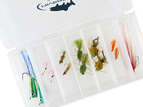 RiverBum Redfish Flies Assortment Kit with Fly Box, Poppers, Shrimp, Crab, Deceiver Flies for Fly Fishing - 14 Piece