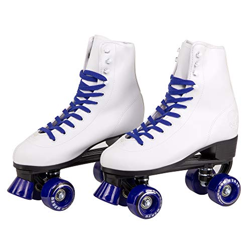 C7 Classic Roller Skates | Retro Soft Boot with Faux Leather | Speedy Quad Style for Men, Women and Kids (Dark Blue/Youth 6 / Men's 6 / Women's 7) (White Roller Skates)