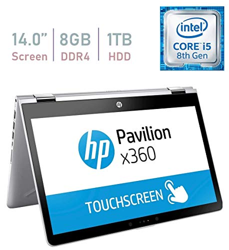 HP Pavilion 14-inch x360 HD Touchscreen Convertible 2 in 1 Laptop Tablet PC, Intel Core i5-8250u up to 3.4GHz, 8GB DDR4 Memory, 1TB HDD Windows 10 (Renewed)