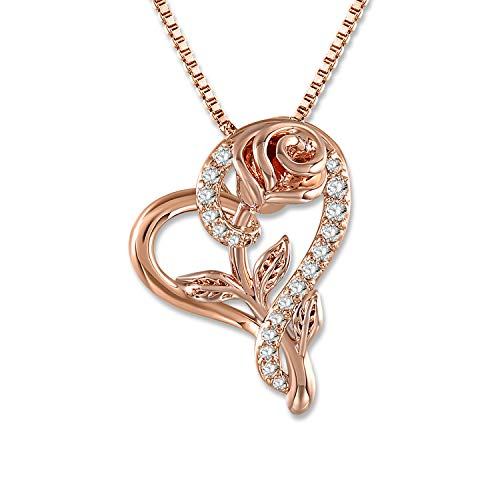 (SNZM Love Heart Pendant Necklace Rose Flower Jewelry for Women, for Birthday, Mothers Day Necklace (Rose Gold))