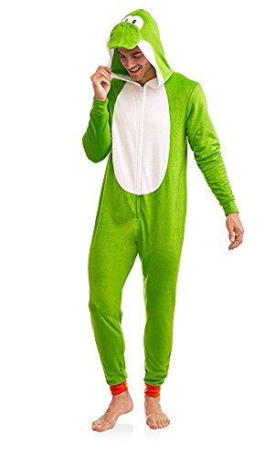 Super Mario Yoshi Men's Fleece Super Soft Union Suit Lounge PJs Sleepwear Pajama (Yoshi,X-Large)