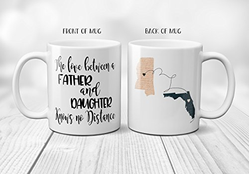 The Love Between a Father  Daughter or Son Knows No Distance Coffee Mug Personalized with Connected States