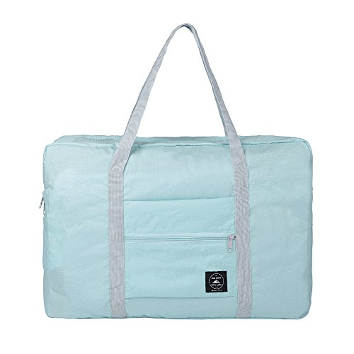 GZMM Foldable Travel Duffel Bag Luggage Sports Gym Water Resistant Oxford (Light blue)