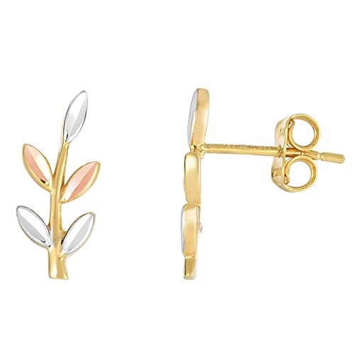 14k Yellow, White and Rose Gold Tri-Color Leaves Ear Climber Stud Earrings 14k Yellow Gold Leaf Earrings