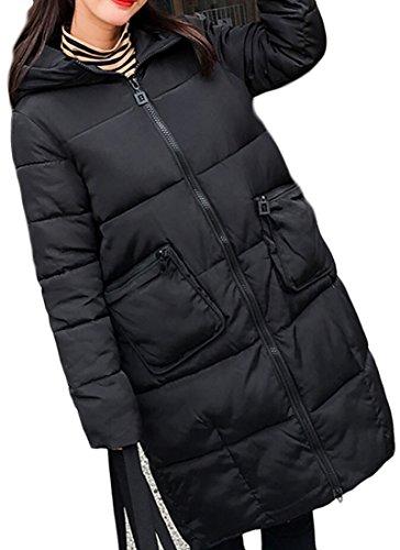 M Coat Fashion Hooded Womens Loose amp;S amp;W Long Zipper Black Outwear Down HwB8qRHrp