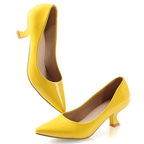 COOLCEPT Mujer Moda Coma Mini Tacon Basico Trabajo Boca Baja Zapatos Amarillo