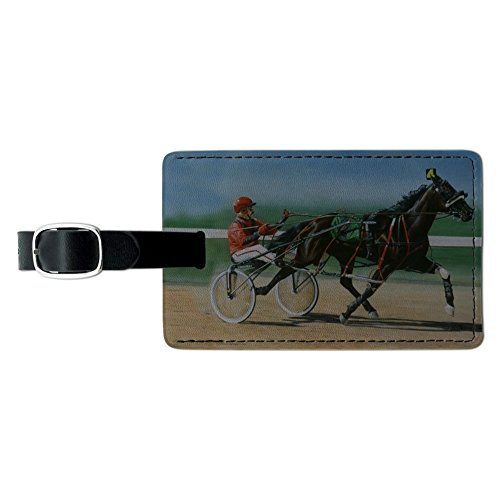 Harness Racing Horse Sulky Trotter Rectangle Leather Luggage Card ID Tag -  GRAPHICS & MORE, LEATHER.TAG.RECT.QQJQLMG00.Z001443_8