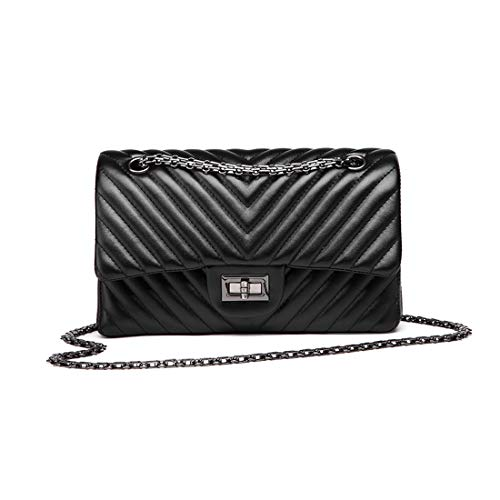 Nero In Handbags Crossbody Fashion quilted Bag Pelle For Flap Catena V Women z4qHfwPBq