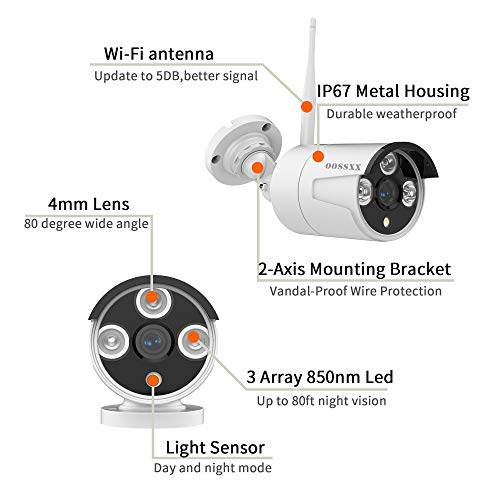 【Microphone Inside】 Outdoor 1080P Security Camera,OOSSXX IP67 Waterproof WiFi Camera,Wireless Surveillance Camera with Night Vision