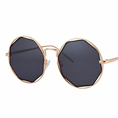 XIAOGEGE negro gafas redondas de metal Negro de gafas irregular Polígono gafas sol mujer retro personalizadas marea expuesto ZqwPnZA7zr