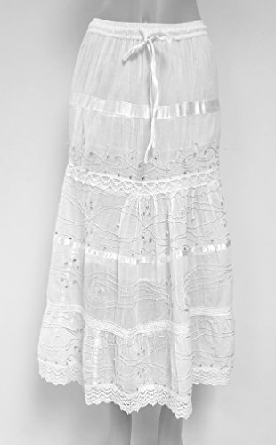 Nu Deals Embroidered & Embellished Peasant Sweep Skirts with Hippie Boho Lace Trim (Medium, ()