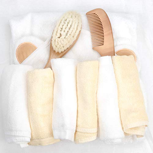 Peak Emporium Bamboo Washcloth & Hooded Towel Set | Organic Bath Time Essentials for Newborns to Toddlers | Extra Thick & Soft Cloth | Bonus Hair Brush Grooming Kit | Ideal Baby Registry Gift from Peak Emporium