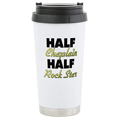 CafePress Half Chaplain Half Rock Star Stainless Steel Travel Mug, Insulated 16 oz. Coffee Tumbler