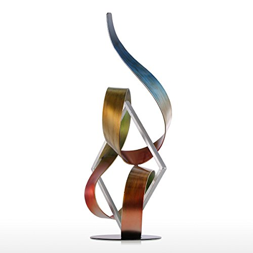 Tooarts Square and Ribbon Modern Metal Sculpture Iron Abstract Statue Ornament Home Decor