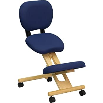 ergonomic kneeling office chairs. Brilliant Kneeling Flash Furniture Mobile Wooden Ergonomic Kneeling Posture Chair With  Reclining Back In Navy Blue Fabric With Office Chairs C