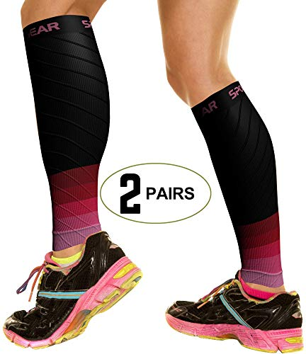 2 PAIRS Calf Compression Sleeve for Men & Women, Best Footless Socks for Shin Splints & Leg Cramps, Calves Circulation Remedy, Support Stockings, Running, Basketball Lycra Tights - BLK & PINK S/M/L (Best Remedy For Varicose Veins)