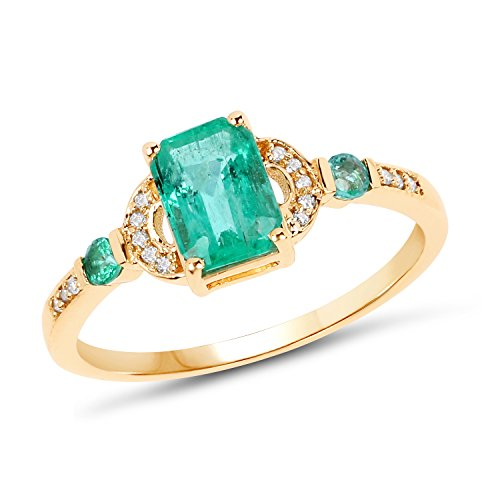 14K Yellow Gold Zambian Emerald & White Diamond Ring (1.08 cttw, I-J Color, I2-I3 Clarity) from Johareez ()