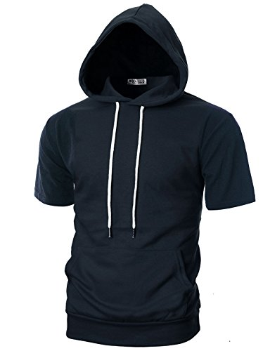 (Ohoo Mens Slim Fit Short Sleeve Lightweight Hoodie with Kanga Pocket/DCF013-NAVY-L)