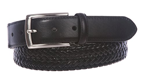 Mens Stretch Leather (Men's Comfort Stretch Braided Leather Belt, Black | 42)
