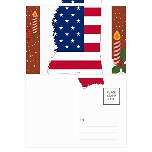 Mississippi USA Map Stars Stripes Flag Shape Christmas Candle Postcard Thanks Card Mailing 20pcs (Postcard Mississippi)