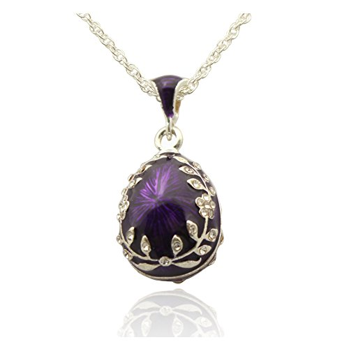 MYD Jewelry Leaf Flower Crystal Easter Egg Charm Pendant Necklace for European Faberge (Purple)