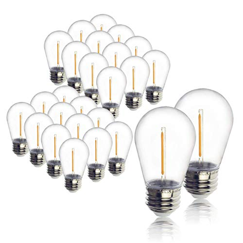24-Pack LED 1W String Light Bulbs, UL Listed, Jslinter S14 Plastic Edison Vintage Style Replacement 1 Watt Outdoor Light Bulbs, Waterproof, Warm White Equivalent to 11w, e26 Base