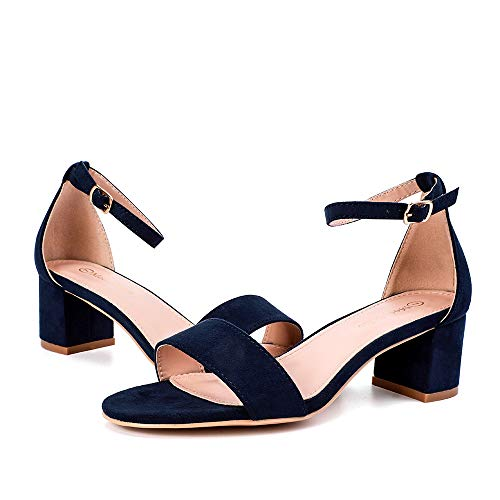 Moda Chics Navy Heels for Women Block Chunky Heeled Dress Sandals Navy MF 9 B(M) US Chunky Heel Dress Sandals
