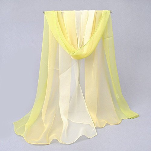 [Say's Beauty - New Fashion Women's Gradient Color Soft Long Chiffon Thin Beach Wrap Stole Scarf / White&Yellow] (Costume Design For Rabbit Hole)