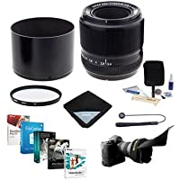 Fujifilm XF 60mm (90mm) F/2.4 Macro Lens - Bundle with 39mm UV Filter, Lens Wrap, Flex Lens Shade, Capleash, Cleaning Kit, Professional Software Package