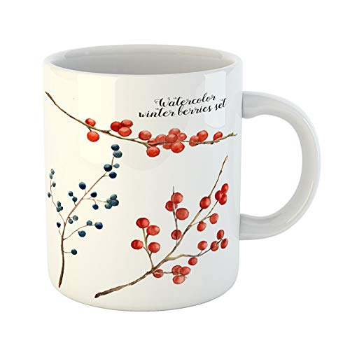 Emvency Coffee Tea Mug Gift 11 Ounces Funny Ceramic Berry Watercolor Winter Berries Hand Red and Blue on Botanical Branch Gifts For Family Friends Coworkers Boss Mug (Collection Tableware Winterberry)
