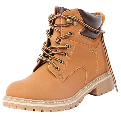 Forever Women's Ankle High Combat Hiking Boots Tan Pu