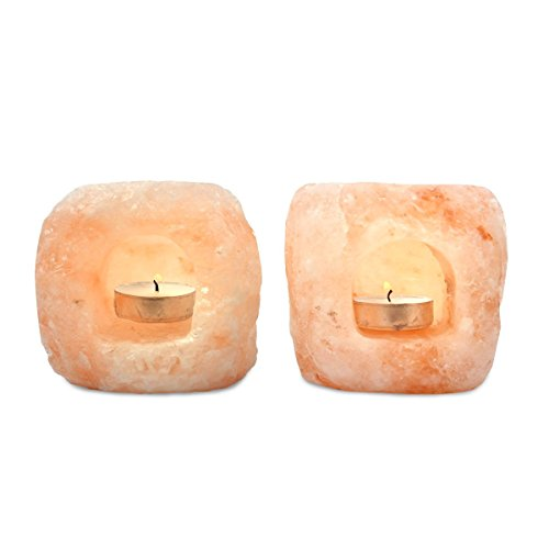 Mineralamp LTL-2-23 Natural Himalayan Hand Carved Double Hole Lantern Tealight Candle Holder, 2-3 lbs, 2-Pack, Peach/Pink (For Crystal Holders Sale Candle)