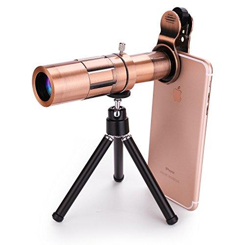 MOCALACA Metal Material Mobilephone Camera Lens, 20X Zoom Telephoto Lens, with Flexible Tripod + Universal Clip for iPhone X/8/7/7 Plus/6s/6/5, Samsung Galaxy/Note, Android and Most Smartphones
